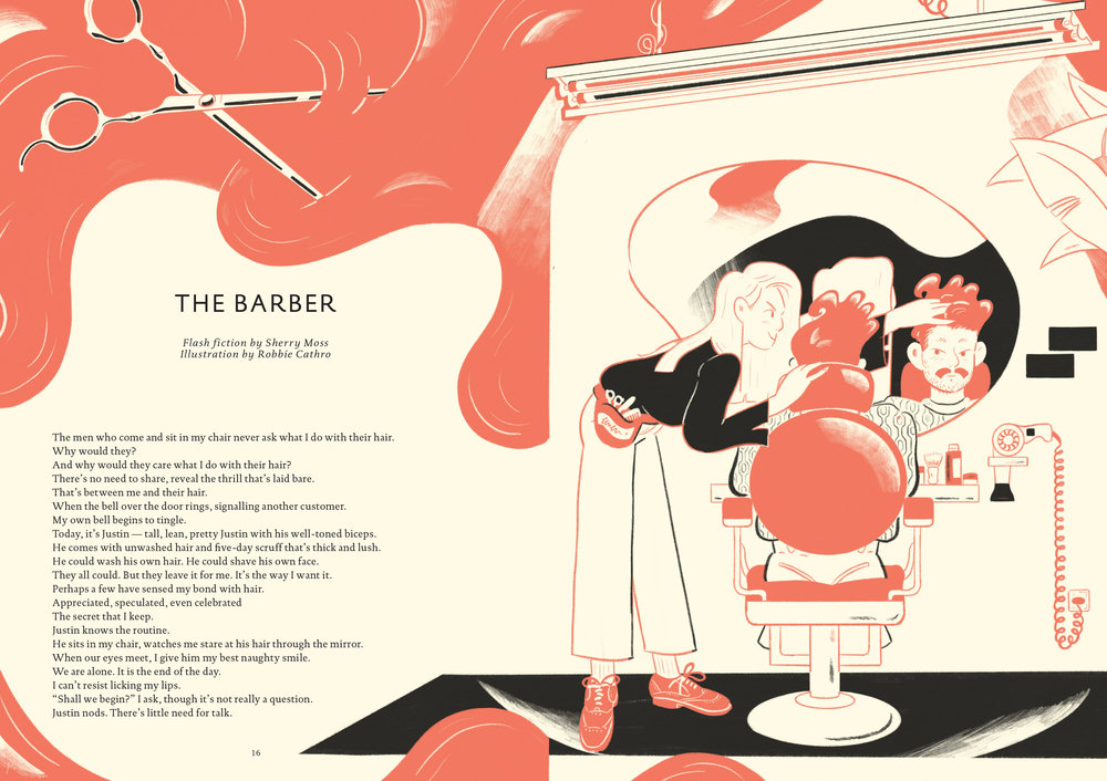 'The Barber', 1/2 Spreads for PopShot Quarterly Issue 23 - 'The Identity Issue'.