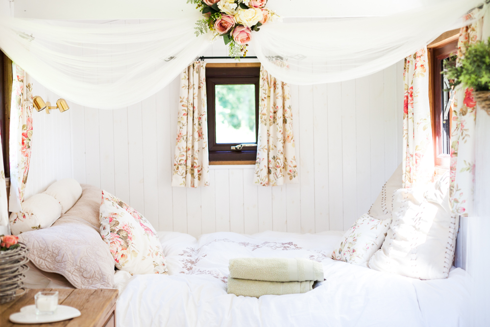 Romantic shepherd's hut interior