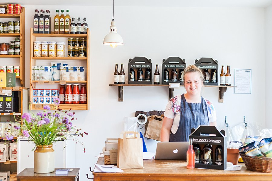 Lauren serving behind the counter