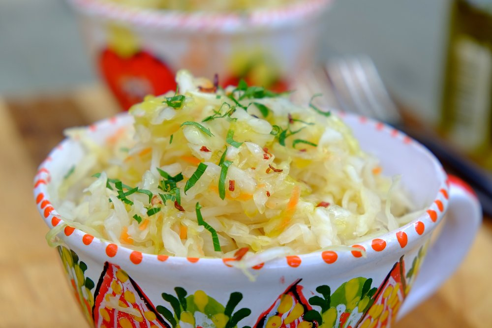 A sauerkraut made of the fall harvest from local farms available for sale,  1 lb for $3.0