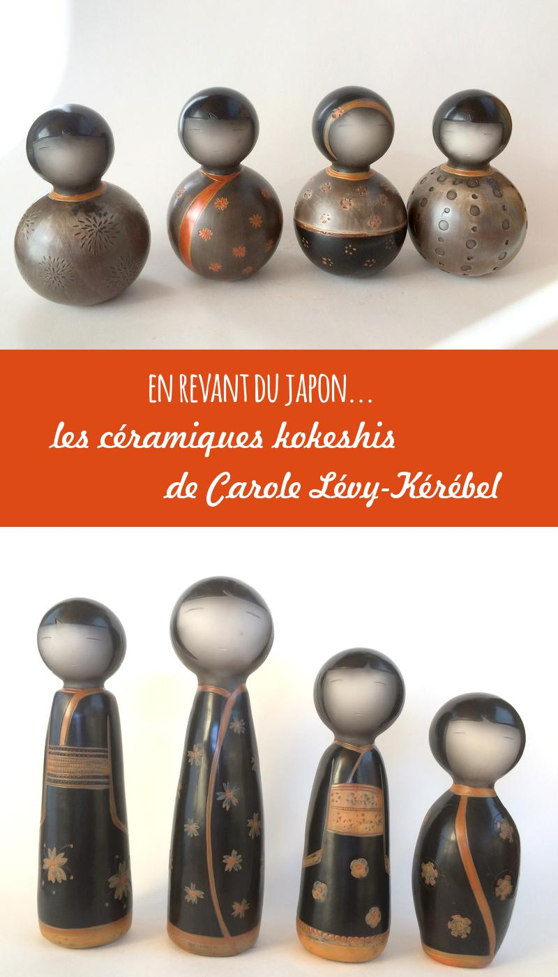 Kokeshis en céramiques par Carole Lévy Kerebel