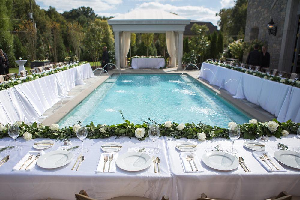 pool backyard wedding