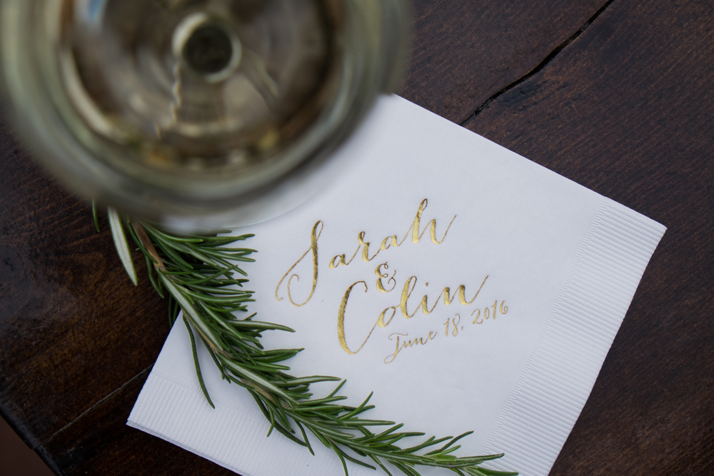 gold calligraphy cocktail napkin