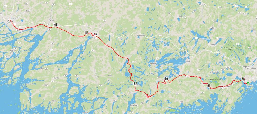 Lopullinen reitti olikin 220km kun päätettiin mennä Fiskarsista suoraan luoteeseen kohti Saloa.
