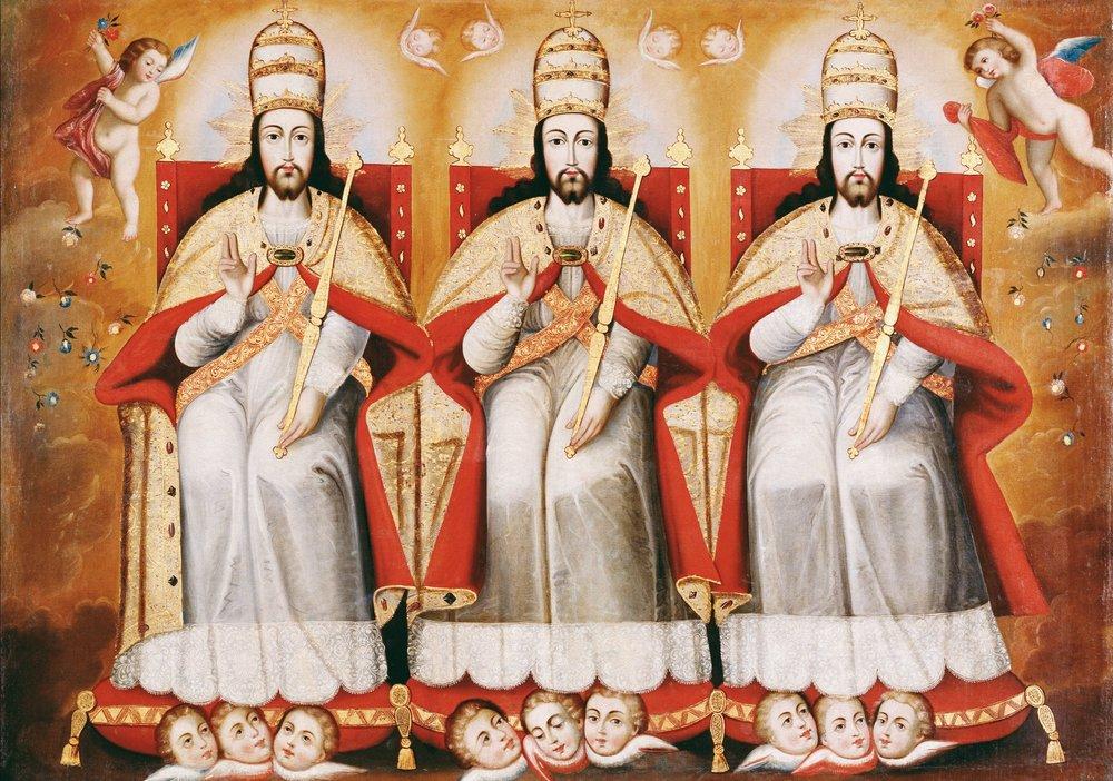 "Cuzco School, ""The Enthroned Trinity"" (c. 1730))"