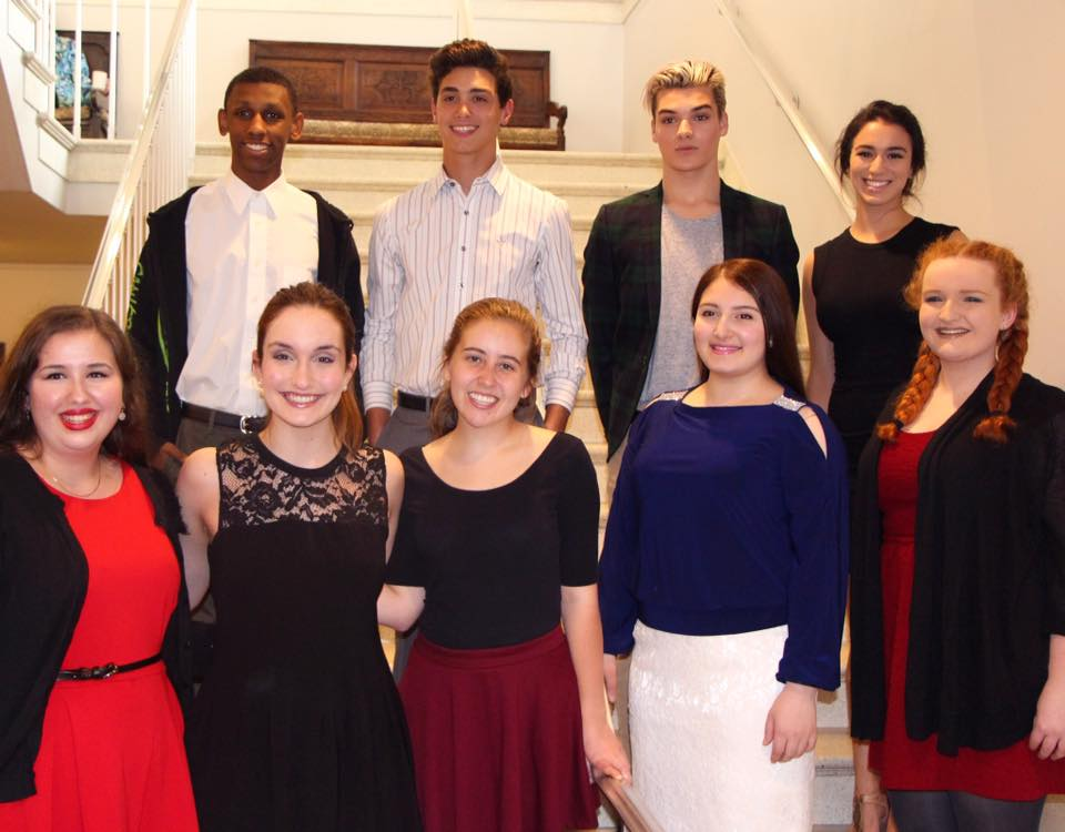 GPN Juniors Kitty Clark  (far left)  and Lolly Duus  (second to left)  won the 2016 Grosse Pointe Theatre scholarship.