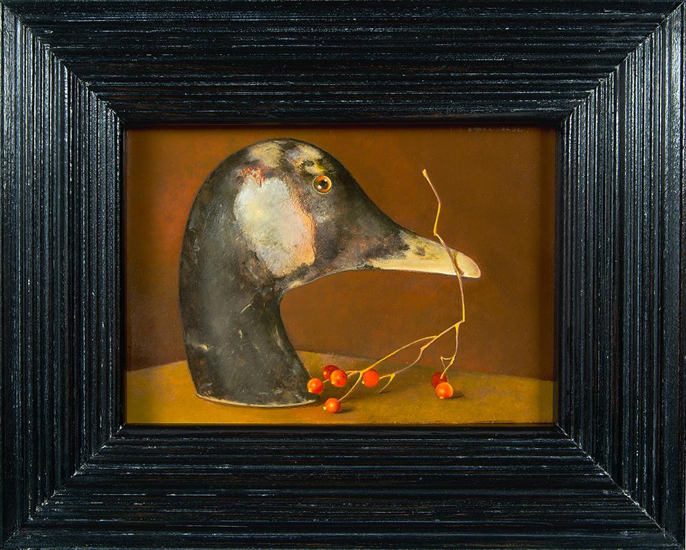 """Duck Head,  5"""" x 7"""", Oil on board"""