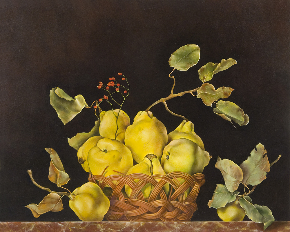 """Basket of Quinces,  16"""" x 20"""", Oil on board"""
