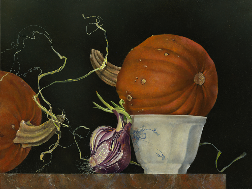 """White Bowl with Pumpkin and Onion,  12"""" x 16"""", Oil on board"""