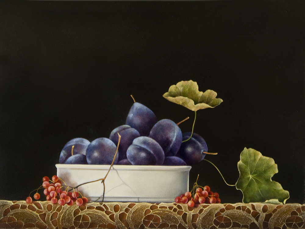 """Plums in Bowl on Lace,  11"""" x 14"""", Oil on board"""