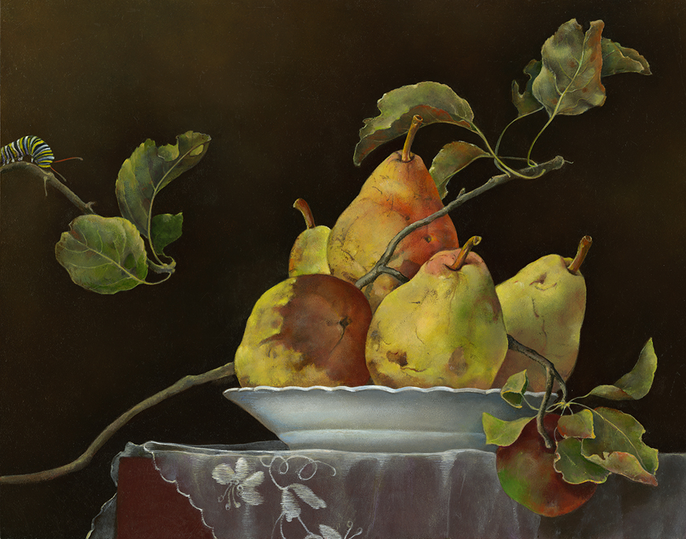 """Pears on White Plate with Apple Branch,  11"""" x 14"""", Oil on board"""