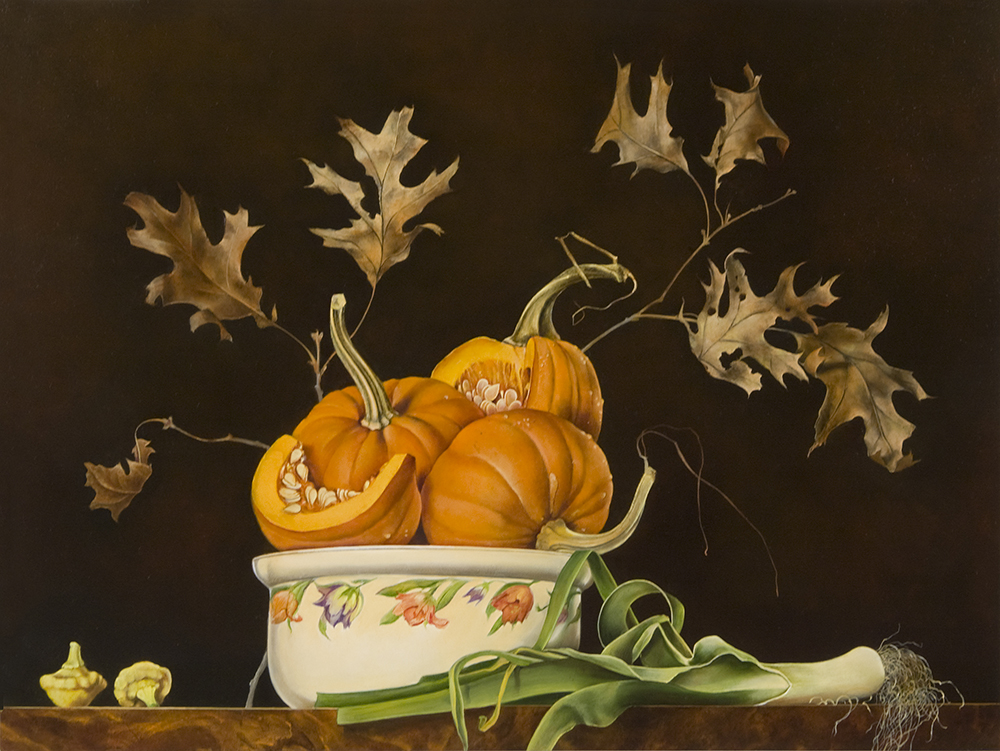 """Bowl of Pumpkins with Leek and Oak Branch,  18"""" x 24"""", Oil on board"""