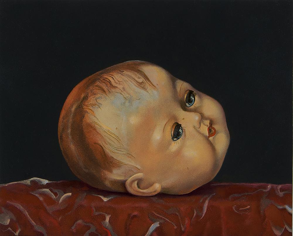 """Doll's Head,  8"""" x 10"""", Oil on board"""