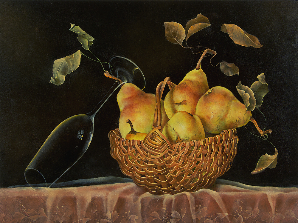 """Basket of Pears with Wine Glass,  14"""" x 18"""", Oil on board"""
