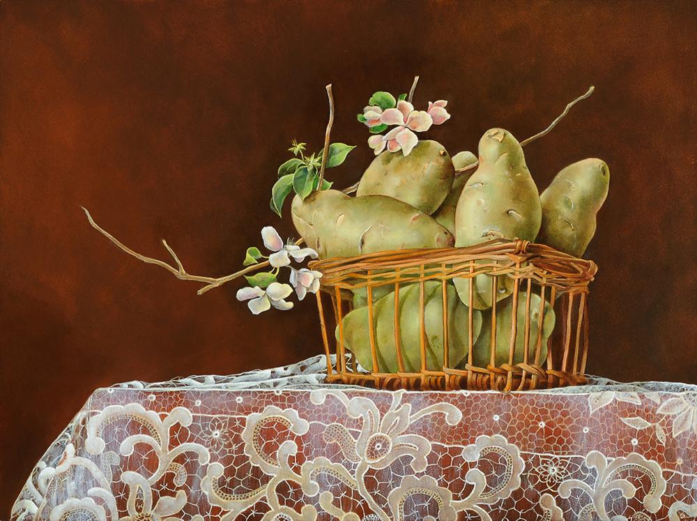 """Potatoes in Basket on Lace,  12"""" x 16"""", Oil on board"""