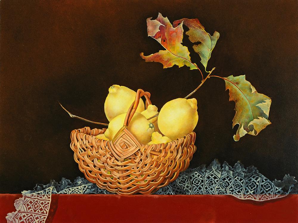 """Basket of Lemons on Lace,  12"""" x 16"""", Oil on board"""