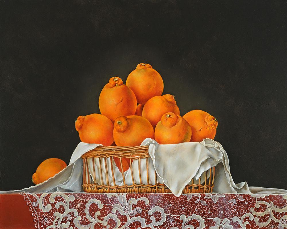 "Basket of Navel Oranges,  16"" x 20"", Oil on board"