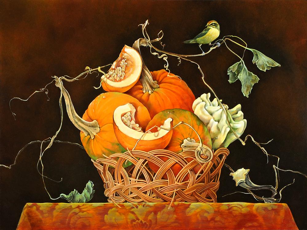 """Basket of Pumpkins,  18"""" x 24"""", Oil on board"""