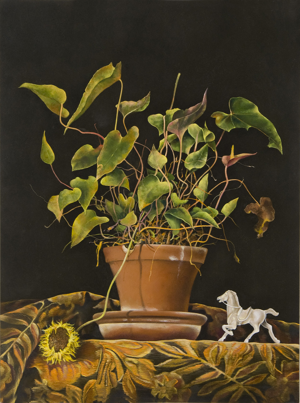 """Potted Anthurium,  12"""" x 16"""", Oil on board"""