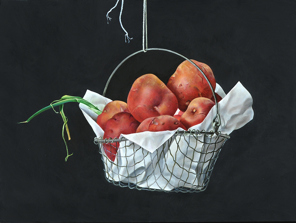 """Red Potatoes in Hanging Wire Basket , 12"""" x 16"""", Oil on board"""