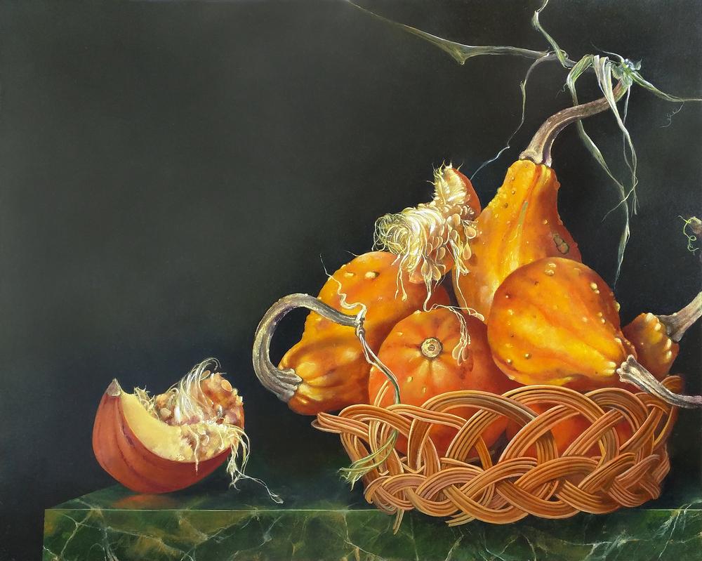 """Orange Gourds in a Basket,  16"""" x 20"""", Oil on board"""