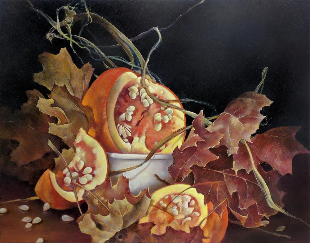 """Pumpkins with Oak Leaves,  11"""" x 14"""", Oil on board"""