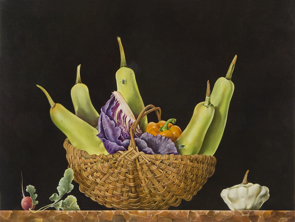 "Basket of Chinese Vegetables,  18"" x 24"", Oil on board"