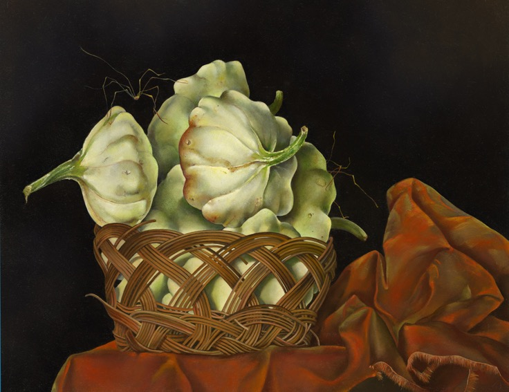 "Basket of Squash on Orange Brocade,  14"" x 18"", Oil on board"