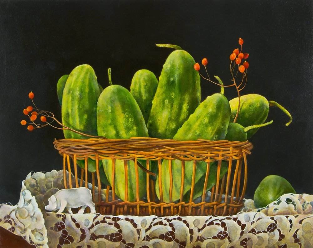 "Basket of Cucumbers with Pig,  11"" x 14"", Oil on board"