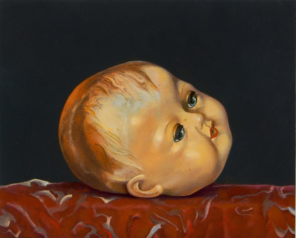 "Doll's Head,  8"" x 10"", Oil on board"