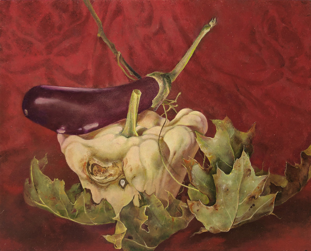 "Pattypan Squash with Eggplant and Leaves,  8"" x 10"", Oil on board"