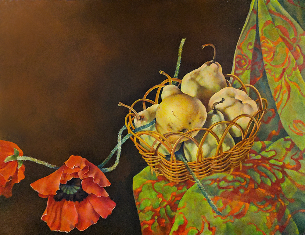 "Pears in Basket,  14"" x 18"", Oil on board"