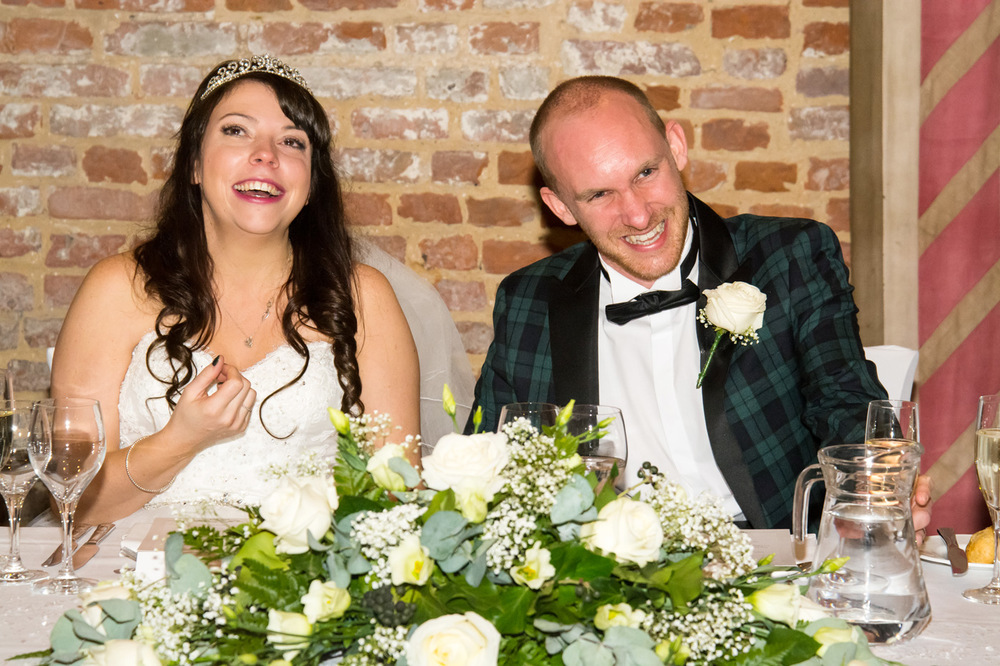 Laughs during the speeches