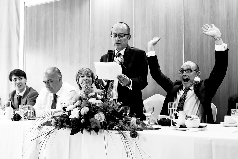 Paul punches the air gleefully to Tony's speech at Homestead Court Hotel in Welwyn Garden City.