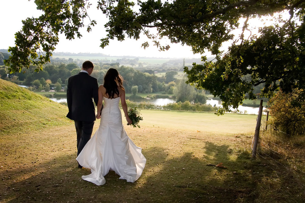 Jay & Sally take a walk at the Three Lakes Resort in Hertfordshire.