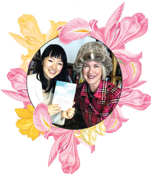 Marie Kondo (left) and Jane Dolan (Right) with Marie's best-selling book, The Life Changing Magic of Tidying Up.