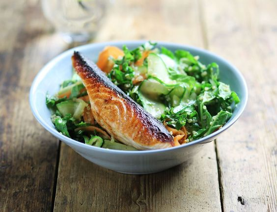 Salmon, Kale & Quinoa in Ponzu Dressing