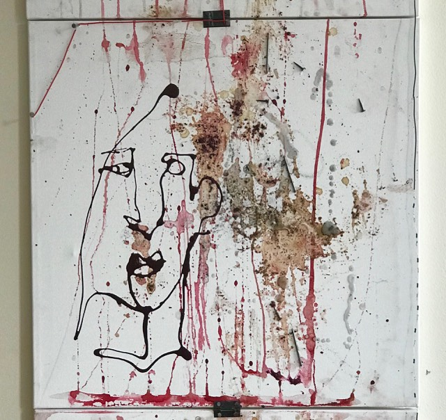 THESE EYES    (SOLD) STOLKHOLM, SWEDEN   JANUARY 2018  20 x 20 inches  Mixed Media on Canvas; Ink, wires, coffee grounds, resistors, nail polish, blood, water color, nails, lipstick
