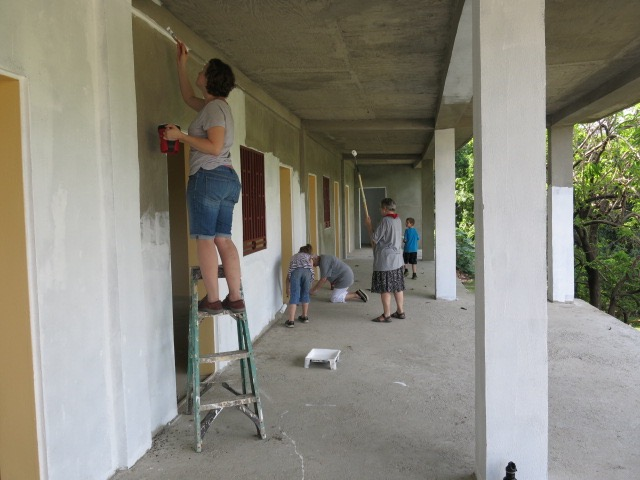 Painting the school - hot work!