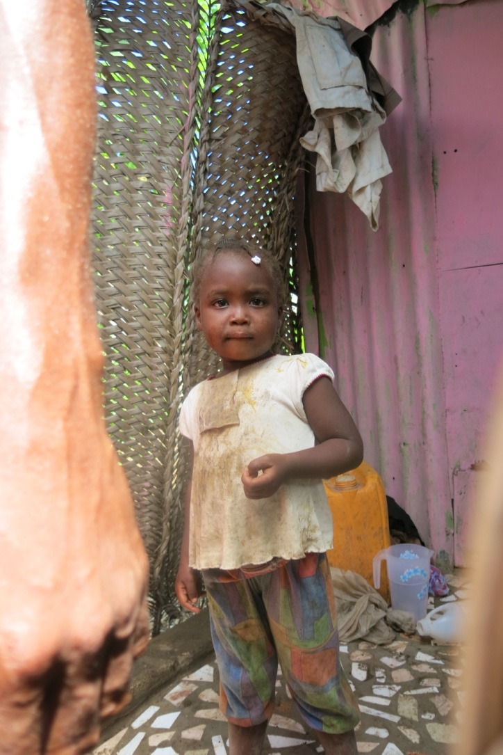 A little girl in one of the homes we visited today
