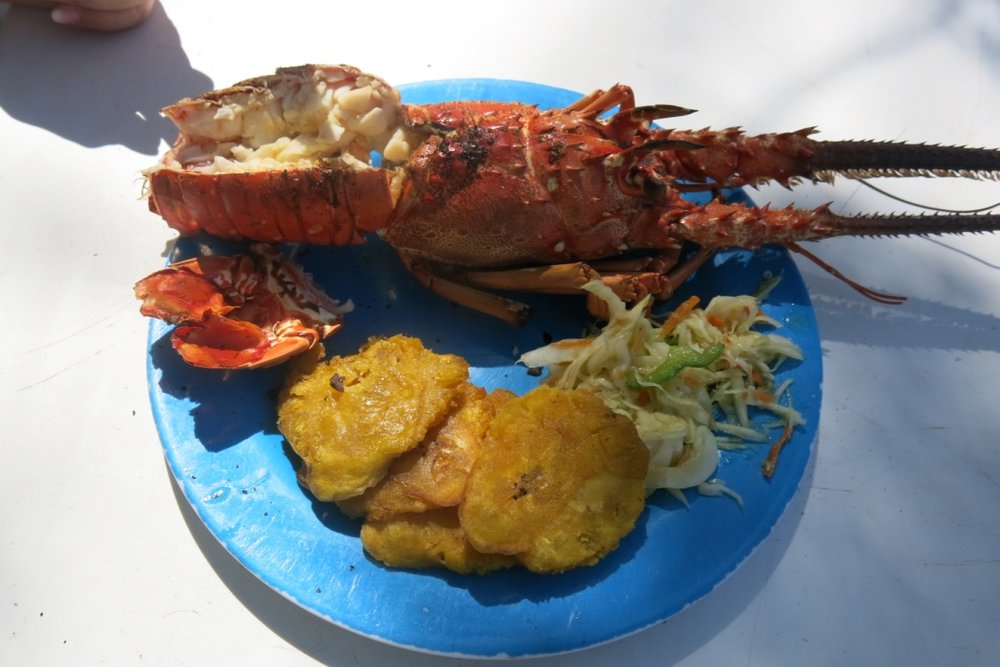 The locals caught crayfish and cooked them up for us, along with plantain.