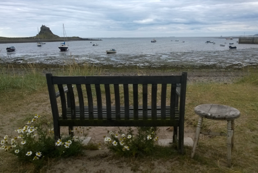 Holy Island harbour, the bench I was proposed to on and will always go back to.