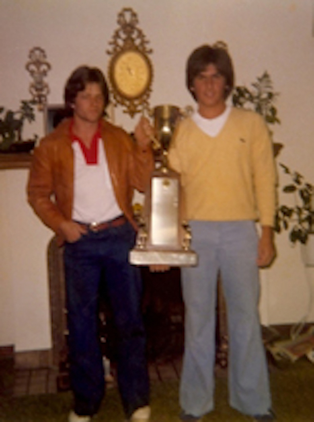 Jay and Fred Couples holding the Washington State Open Champion's trophy, won by Fred in 1981.
