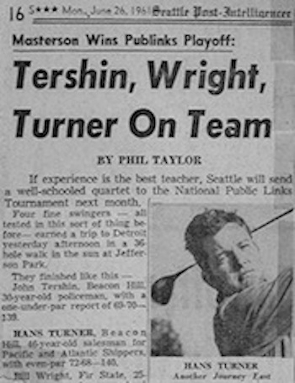 Hans Turner (Jay's dad) in a news article on his U.S. Public Links qualifying in 1961.