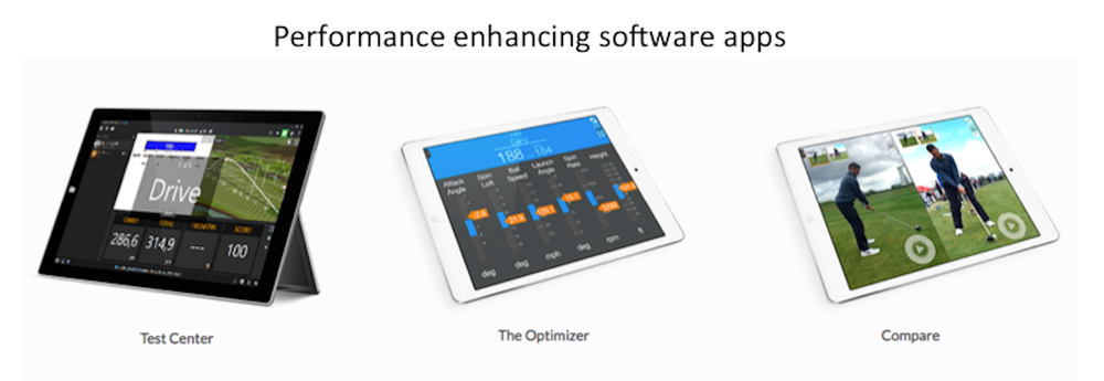 TrackMan performance enhancing software apps include Test Center, The Optimizer, and Compare.