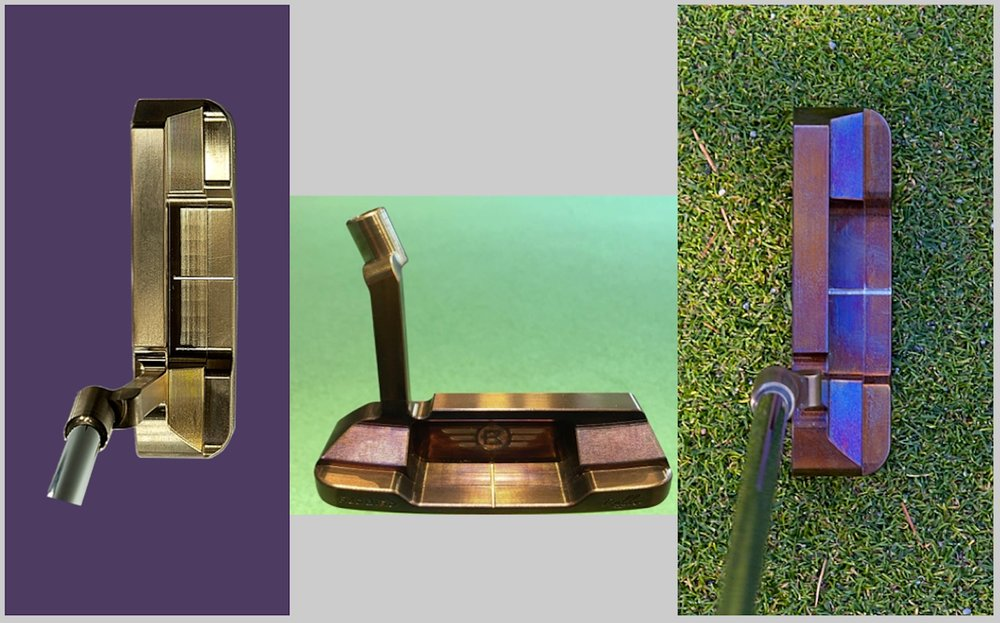 Rullo 016 milled putter can be heat stained to golden yellow, bronze or blue purple.