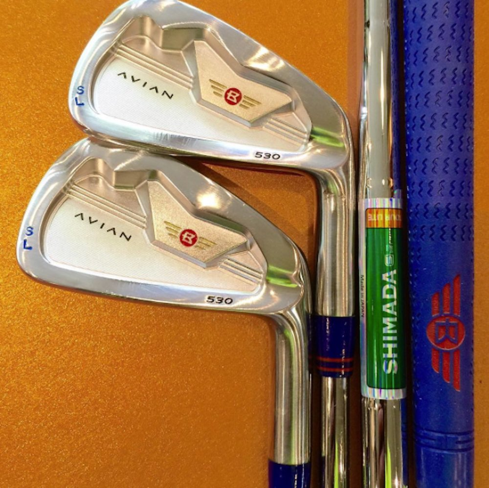 A personalized set of Avian 530 irons with color-matched grips and ferrules and stamped initials.