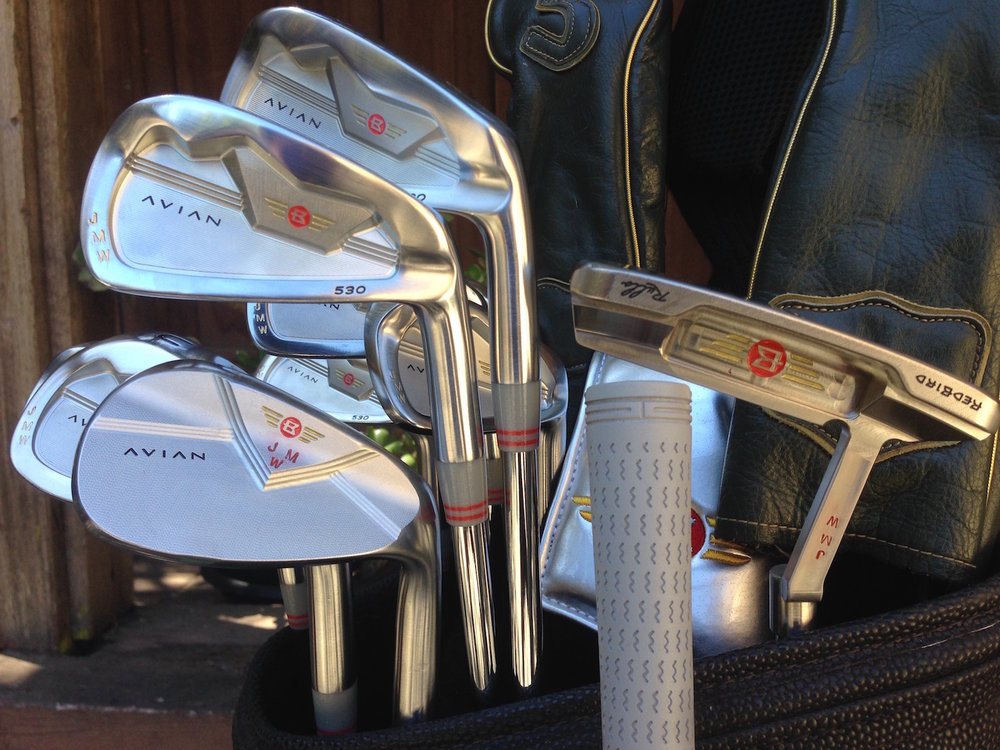 A personalized set of Avian 530 irons, Avian wedges, and Rullo putter.