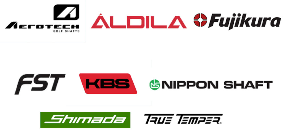 Shaft vendor logos - Aerotech, Aldila, Fujikura, FST, KBS, Nippon Shaft, Shimada, True Temper