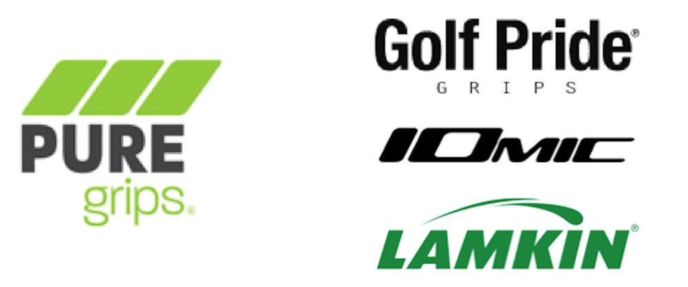 Grip vendor logos - Pure Grips, Golf Pride, Iomic, Lamkin